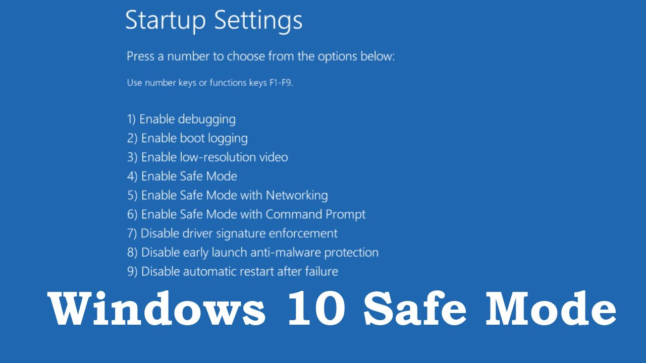 How to start Windows 10 in safe mode by using some shortcut keys