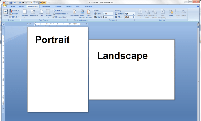 Creating Portrait and Landscape Pages in One Document in Word