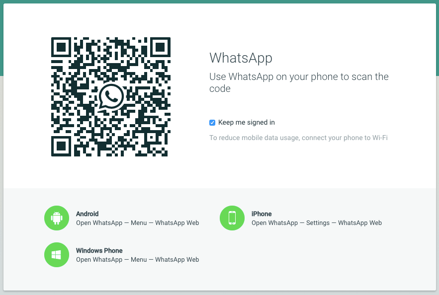 Whatsapp QR Code and Status Updates
