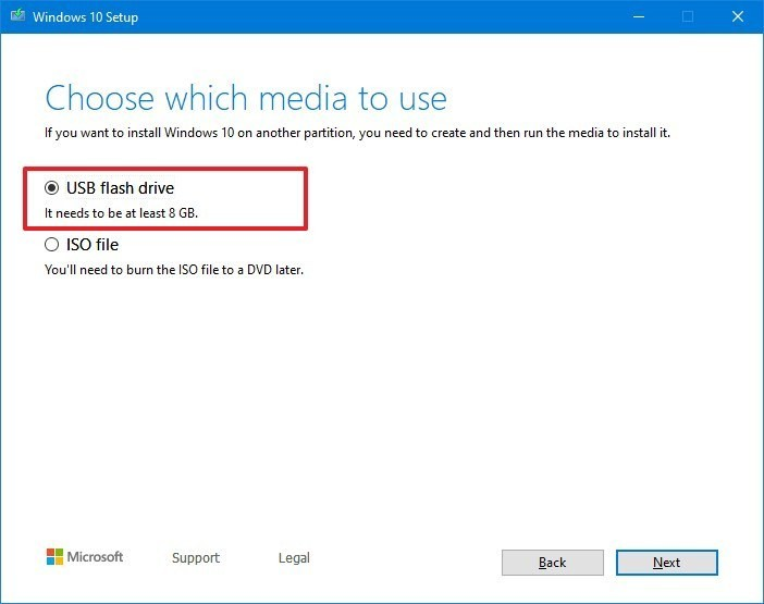 Windows 10 Installation media for USB flash drive