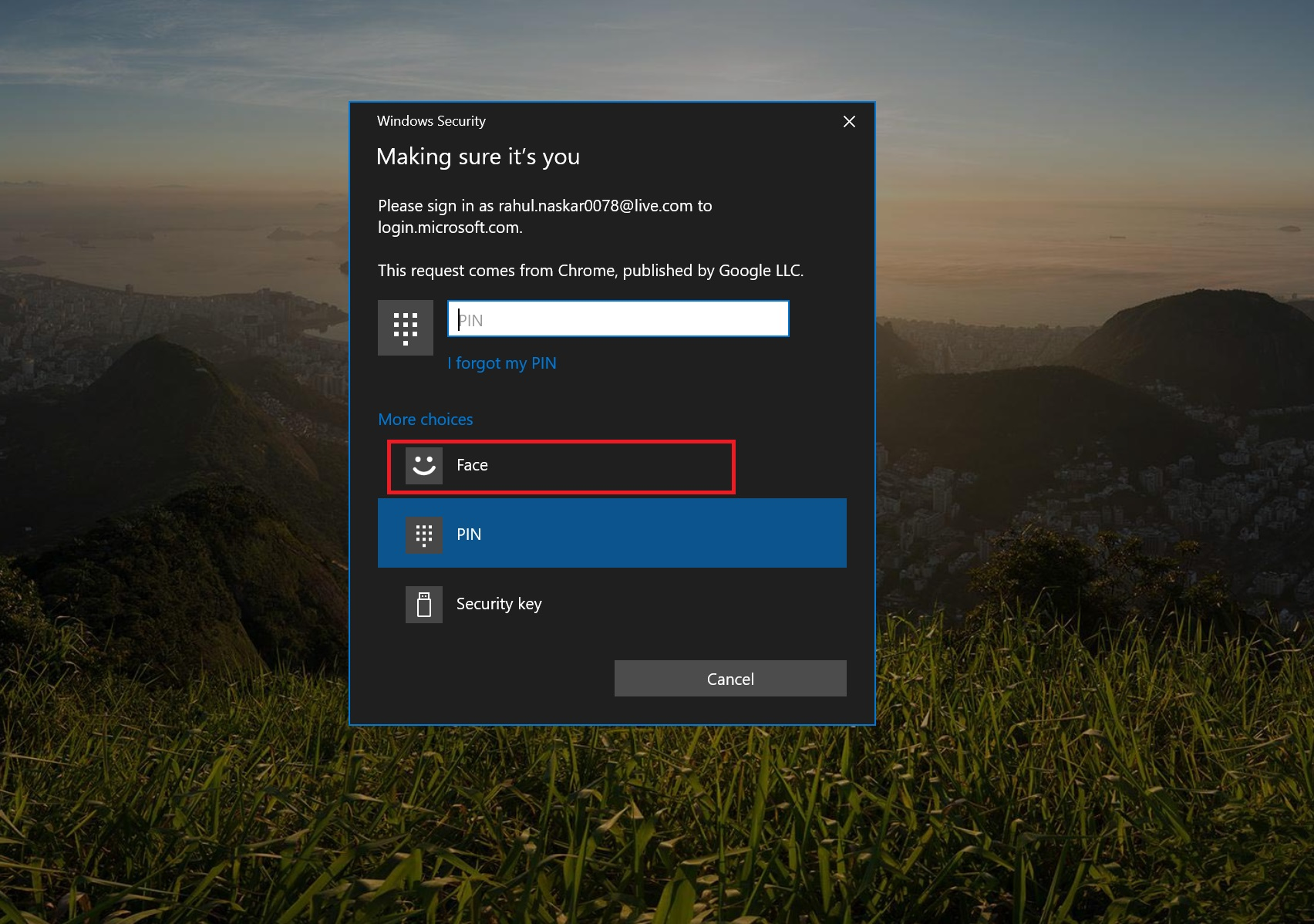 Connect To a Microsoft Account With a Security Key or Windows Hello