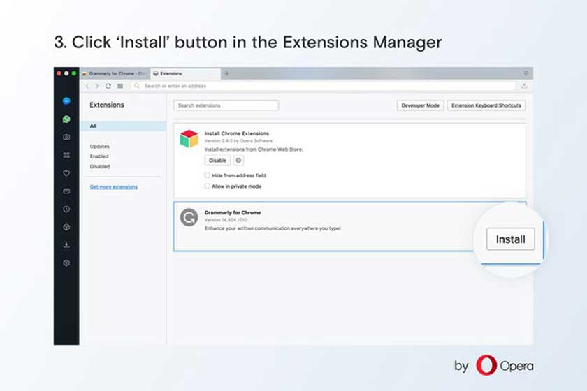 How to install Chrome add-ons officially in Opera?