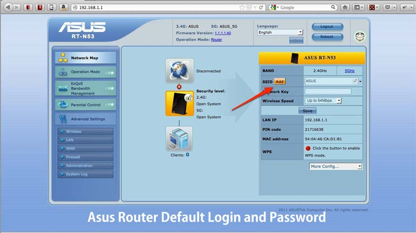 Asus Router Default Login and Password