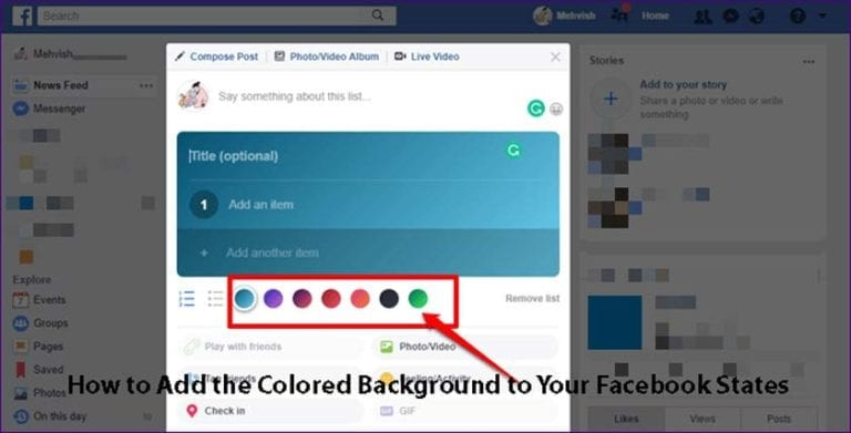 How to Add the Colored Background to Your Facebook States