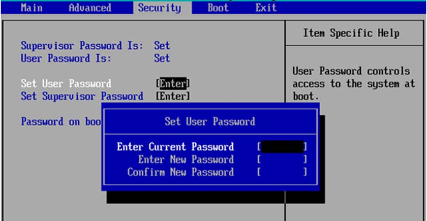 How to put a password in a laptop BIOS