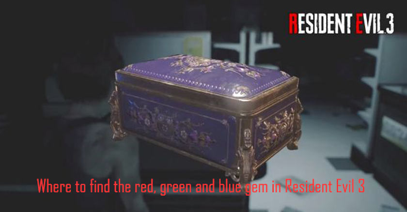 Where to find the red, green and blue gem in Resident Evil 3