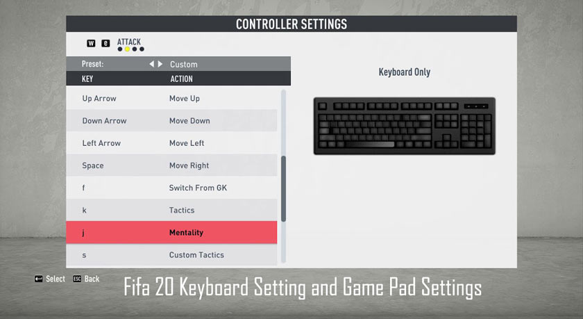 Fifa 20 Keyboard Setting and Game Pad Settings