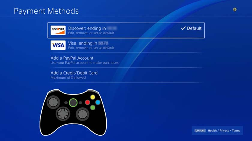 How to change credit card on PS4