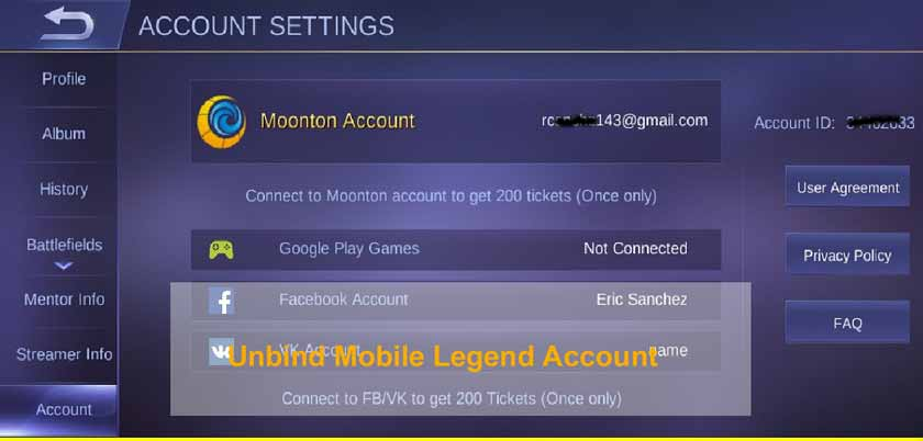 How to Unbind Mobile Legend Account
