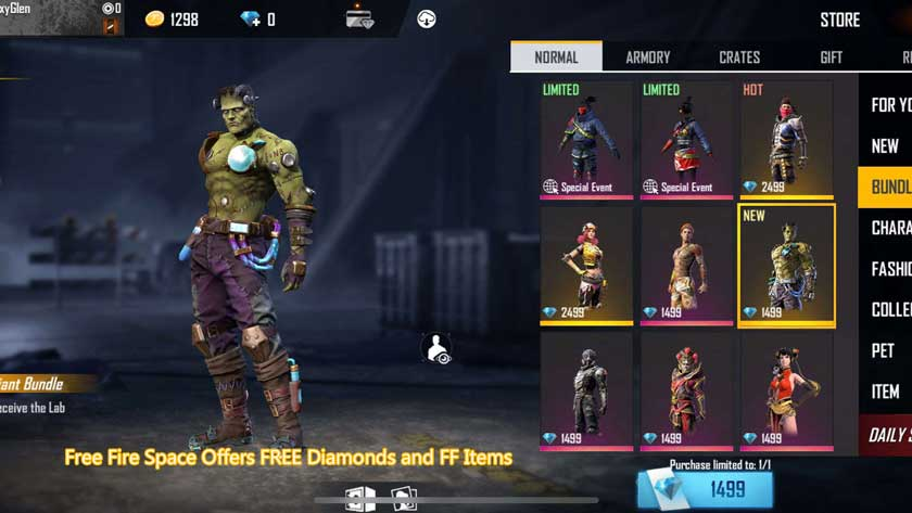 Free Fire Space Offers FREE Diamonds and FF Items
